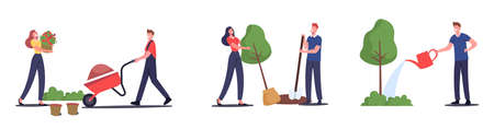 Set of Men and Women Farmers Working in Garden, Care and Watering Plants, Grow Flowers, Planting Trees, Remove Soil  イラスト・ベクター素材