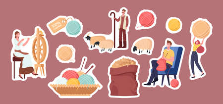 Set of Stickers Cashmere Producing Theme. Woman Spinning Wool on Wheel, Shepherd Grazing Goats, Man Knitting Clothing  イラスト・ベクター素材