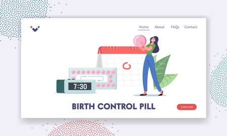 Fertility and Pregnancy Control, Contraception Landing PageTiny Female Character Hold Huge Pink Pill Apply Contraceptive