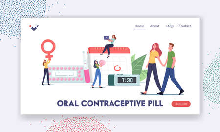 Female Hormonal Contraception Landing Page Template. Woman Apply Oral Contraceptives for Birth Fertility Control