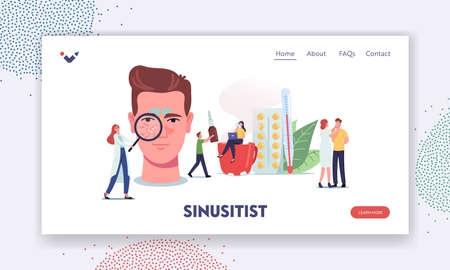 Sinusitis Landing Page Template. Tiny Doctors or Patient Characters at Huge Male Head with Sinus Cavity Inflammation  イラスト・ベクター素材