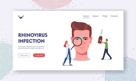 Rhinovirus Infection Landing Page Template. Tiny Doctor Character with Glass Representing Disease on Huge Male Head