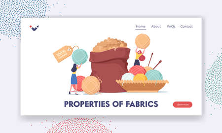 Properties of fabric Landing Page Template. Ecological Textile. Tiny Girls at Huge Sack with Cashmere Wool, Knitting