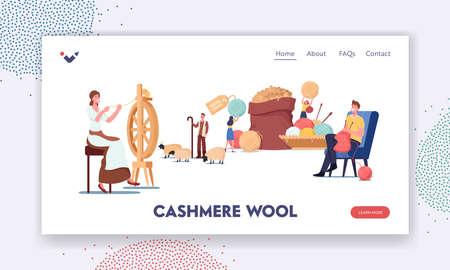 Cashmere Producing Landing Page Template. Woman Spinning Wool on Wheel, Shepherd Grazing Goats, Man Knitting Clothing