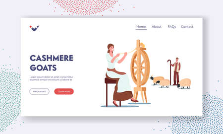 Cashmere Landing Page Template. Woman Spinning Wool on Wheel, Shepherd Grazing Goats, Wool Ecological Textile  イラスト・ベクター素材