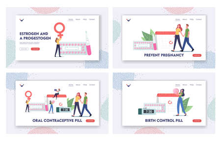 Female Hormonal Contraception Landing Page Template Set. Woman Apply Oral Contraceptives for Birth Control  イラスト・ベクター素材