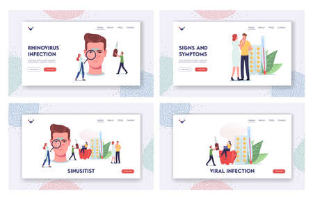 Sinusitis Landing Page Template Set. Tiny Doctors or Patient Characters at Huge Head with Sinus Cavity Inflammation