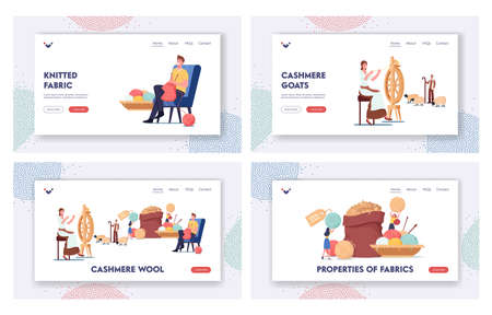 Cashmere Producing Landing Page Template Set. Woman Spinning Wool on Wheel, Shepherd Grazing Goats, Man Knitting Cloth, Tiny Characters near Huge Sack with Raw Wool. Cartoon People Vector Illustration  イラスト・ベクター素材