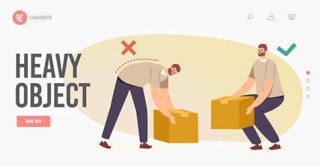 Right and Wrong Manual Handling and Lifting of Heavy Objects Landing Page Template. Back and Spine Health Vecteurs