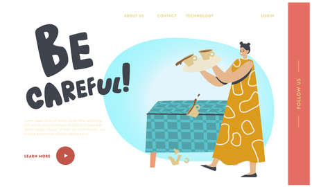 Sudden Occurrence on Kitchen Landing Page Template. Female Character Drop Tray with Coffee Cups. Clumsy Housewife