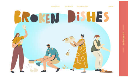 Clumsy Characters Break Dishes Landing Page Template. Men or Women Breaking Plates Smithereens with Small Pieces Scatter Ilustración de vector