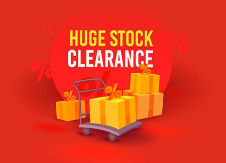 Huge Stock Clearance, Sale Advertising Banner with Boxes and Percent Signs on Manual Trolley. Branding Template Design