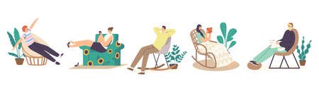 Set Male and Female Characters Relax at Home in Comfortable Chairs or Armchairs, Leisure after Work or Weekend in Room