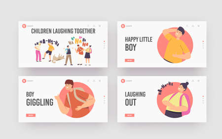 Kids Laughing Together Landing Page Template Set. Happy Girls or Boys Characters Laugh, Funny Children and Dog Ha-ha