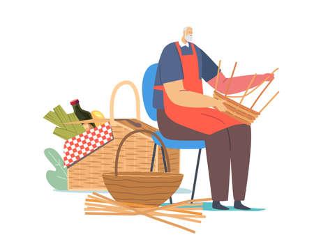 Handmade Hobby, Business. Senior Male Character Weaving Basket. Old Man Make Wicker Picnic Pannier of Natural Materials Vektoros illusztráció