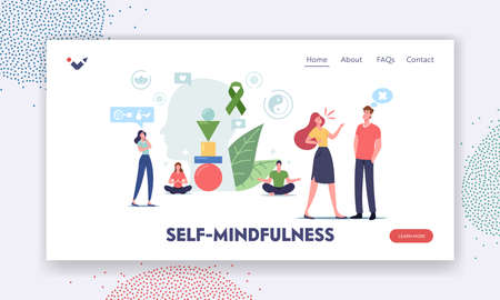 Self-mindfulness, Control Landing Page Template. Characters Keep Mental Balance Avoid Aggression and Stressful Reaction Vector Illustration