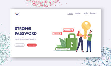 Data Protection Landing Page Template. Tiny Characters Holding Huge Gold Key near Green Padlock with Strong Password