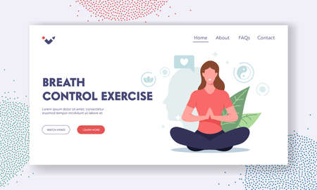 Breath Control Exercise Landing Page Template. Female Meditating in Lotus Pose Feel Mental Balance, Woman Doing Yoga