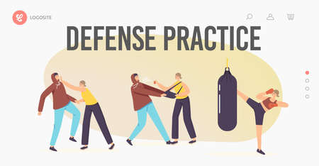 Women Self Defense Practice Landing Page Template. Female Characters Training with Coach against Robber Attack