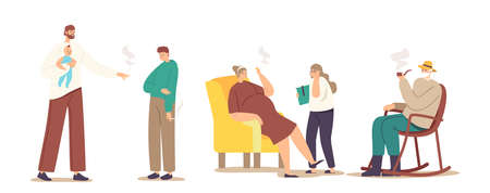 Smoking Family Concept. Adult Family Characters Mother, Father and Grandfather Smoke Cigarettes in Presence of Children