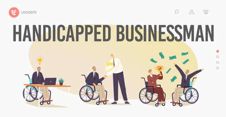 Disability Employment, Work for Disabled People Landing Page Template. Handicapped Businessman Characters on Wheelchair
