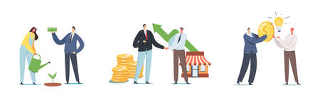 Set Invest in Startup. Businesspeople Characters Grow Project, Money Tree, Business Handshake, Change Idea on Money