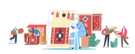 Characters Weaving Carpet on Handloom and Selling on Asian Bazaar. Traditional Oriental Art, Handmade Craft Rugs Making