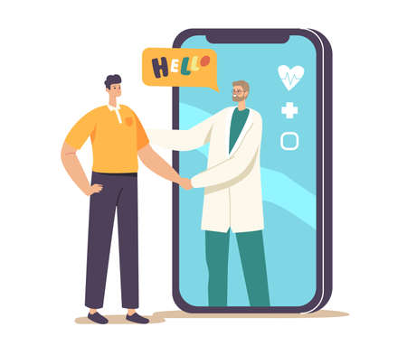 Remote Health Care Consultation. Distant Online Medicine Appointment, Smart Medical Technologies. Doctor Shaking Hand Vecteurs