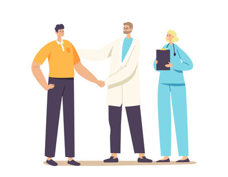 Patient Character Gratitude Doctor with Shaking Hand for Treatment, Consultation or Medical Aid. Medicine, Health Care