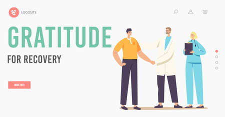 Patient Male Character Gratitude Doctor with Shaking Hand for Treatment and Recovery Landing Page Template, Consultation Vektoros illusztráció