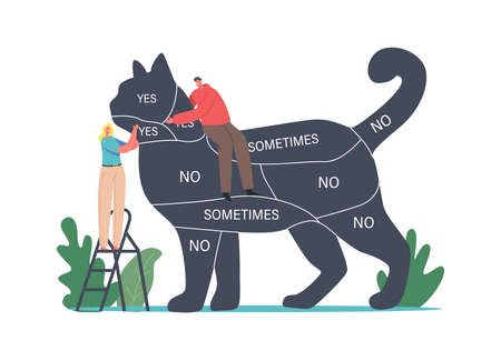 Communication with Pets, People Care of Animals, Spending Time with Kitten. Tiny Characters on Ladder Caring of Huge Cat