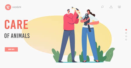 People Care of Pets Landing Page Template. Characters Holding Cute Cats, Woman and Man Owners Caring of Kitten