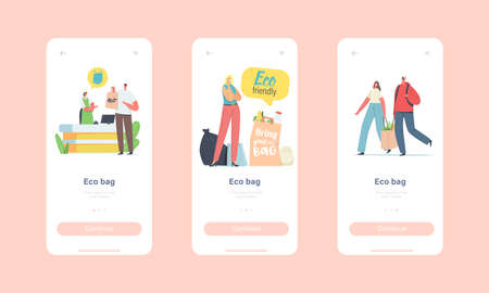 People Visit Shop with Reusable Eco Bags and Packaging Mobile App Page Onboard Screen Template. Ecological Packing