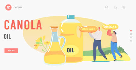 Fresh Plant Oil Landing Page Template. Tiny Characters Carry Huge Omega near Glass Jar and Jug with Rapeseed Canola Oil
