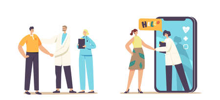 Patient Gratitude Doctors with Shaking Hand. Distant Online Medicine Consultation, Smart Medical Technologies. Doctors Characters Communicate with Client via Mobile. Cartoon People Vector Illustration