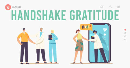 Patient Gratitude Doctors with Shaking Hand Landing Page Template. Medicine Consultation, Smart Medical Technologies