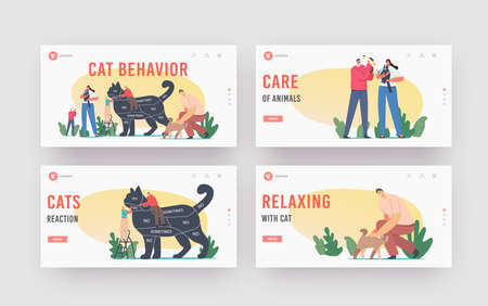 Cat Behavior Landing Page Template Set. Tiny Characters on Ladder Caring of Huge Cat with Infographics on Body