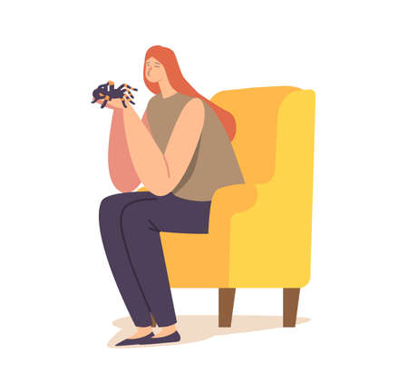 People and Exotic Pets Concept. Female Character Holding Tarantula Spider in Hands Sitting at Home on Armchair