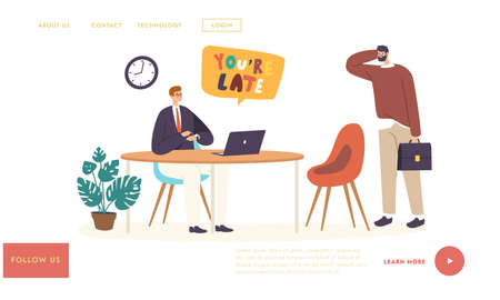 Unpunctual Manager Late Landing Page Template. Subordinate Character Receiving Reprimand From Boss for Being Too Late Vector Illustratie