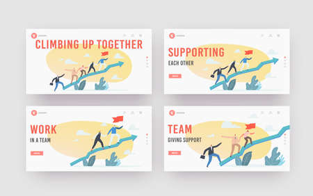 Business Characters Team Climb at Huge Growing Arrow Graph Landing Page Template Set. Leader with Flag, Teamwork