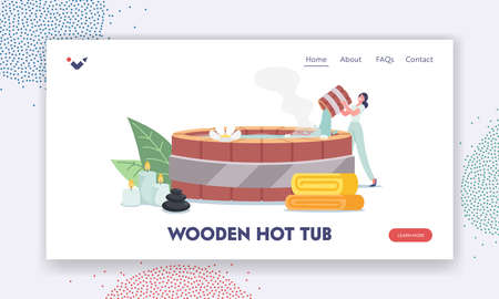 Wooden Hot Tub Landing Page Template. Female Character Pouring Hot Water into Japanese Bath Onsen with Flowers around