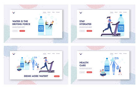 Characters Drink Water, Stay Hydrated Landing Page Template Set. Tiny People at Huge Bottle and Glass with Pure Aqua Vektoros illusztráció