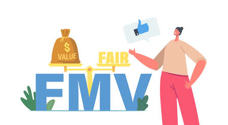 Fair Value Market Business Concept. Tiny Businesswoman Character Show Thumb Up at Huge FMV Typography and Scales Balance