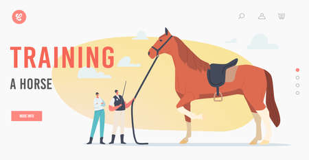 Equestrian Sport and Horse Training Landing Page Template. Tiny Trainer and Jockey near Huge Thoroughbred Stallion