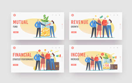 Income Increase, Mutual Fund Landing Page Template Set. Office Colleagues Characters Join Hands, Glass Jar with Sprout Vecteurs