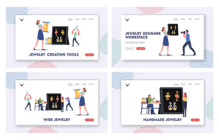 Handmade Craft, Diy Landing Page Template Set. Tiny Female Characters Jewelry Designers Create Bijouterie Using Wire