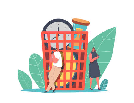 Tiny Characters Idle at Huge Basket with Alarm Clocks Wasting Time and Money, Businesspeople Laziness, Procrastination