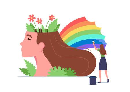 Mental Health, Wellness, Brain Treatment Concept. Tiny Woman Character Painting Rainbow at Huge Female Head