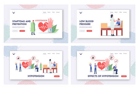 Hypotension, Health Medical Monitoring Landing Page Template Set. Tiny Characters at Huge Wrist Tonometer