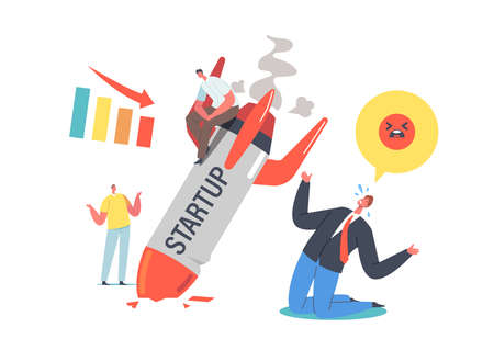 Unplanned Business Loss and Fail. Startup Rocket Crash. Management Mistake and Problem, Workers First Bad Experience